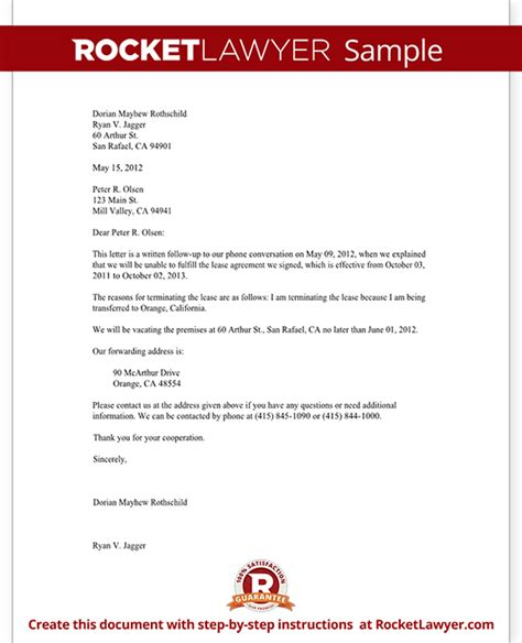Notice To End Tenancy Template by Lease Termination Letter Form Tenant Notice To Vacate Letter