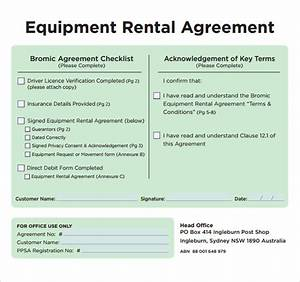 sample equipment rental agreement template 9 free With equipment hire form template