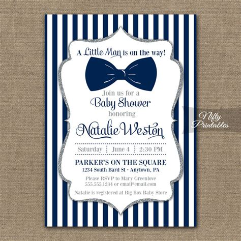 bow tie boy baby shower bow tie baby shower invitations printable navy blue silver