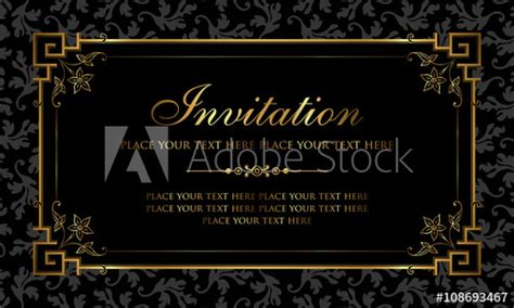 invitation card design black  gold vintage style