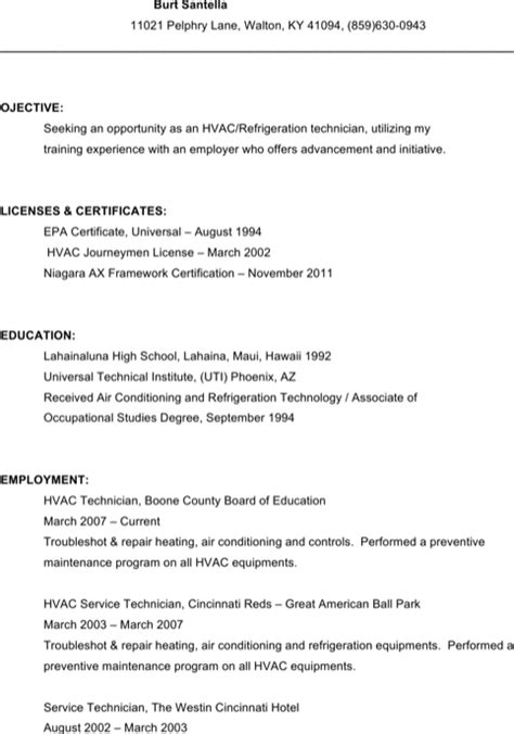 Hvac Resume Template by Hvac Resume Template For Free Formtemplate
