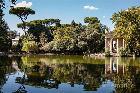 villa borghese gardens temple of aesculapius and lake in the villa borghese