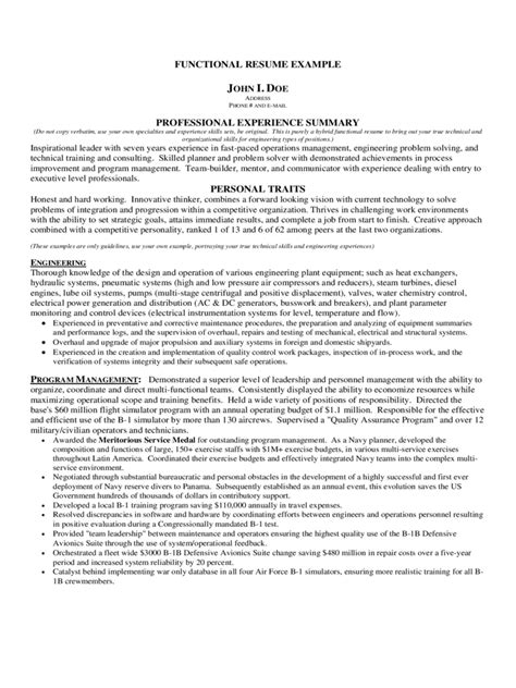 Functional Resume Exle by Functional Resume Exle 15593 Functional Format Resume
