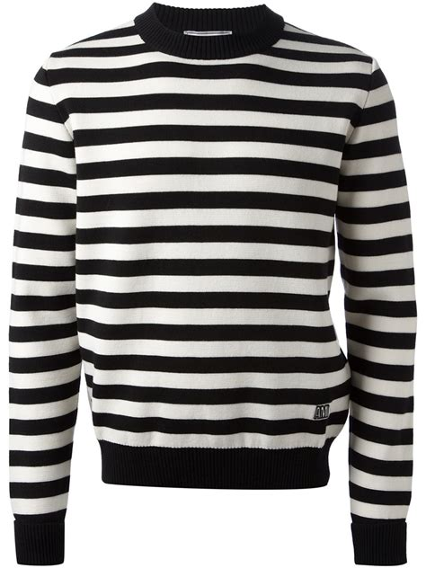 black and white striped sweater ami striped sweater in black for lyst