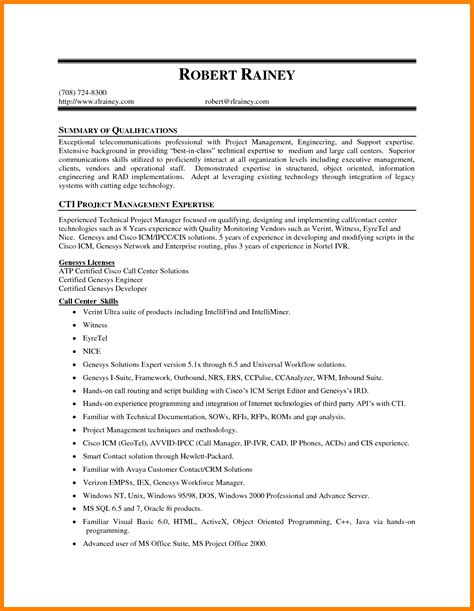 Skills Summary For Resume by 7 Summary Of Qualifications For Resume Ledger Review