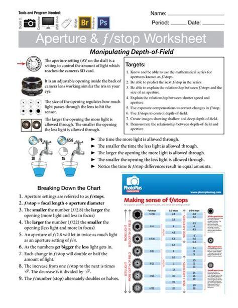 aperture fstop worksheet digital media camera basics