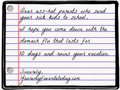 letter   asshat parents  send  sick kids