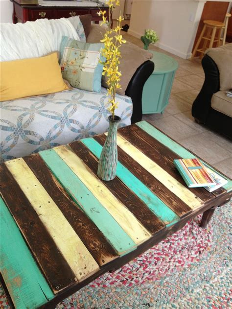 painted pallet coffee table   nautical colors