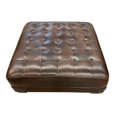 Genuine cowhide leather moroccan ottoman coffee table pouf footstool beanbag. Contemporary Lee Industries Large Brown Leather Square Ottoman Coffee Table | Chairish