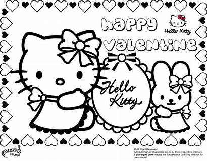 Coloring Kitty Hello Pages Valentine Valentines Printable