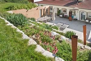 Gartengestaltung Am Hang. gartengestaltung terrasse hang kunstrasen ...