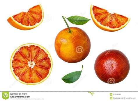 Set Red Orange Fruit With Green Leaves Isolated