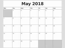 May 2018 Blank Printable Calendar