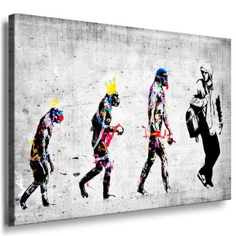 banksy bilder kaufen banksy evolution graffiti leinwand bild fertig auf keilrahmen kunstdrucke