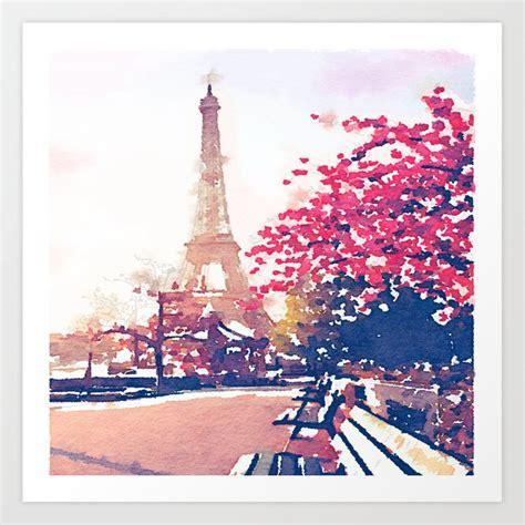 eiffel tower   fall watercolor painting art print