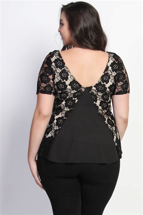 plus size lace blouse themogan plus size stretch lace yoke back evening blouse