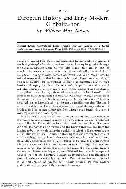 Globalization History Modern Early Workshop European Journal