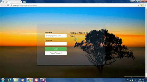 aspnet login page design  bootstrap transparent page