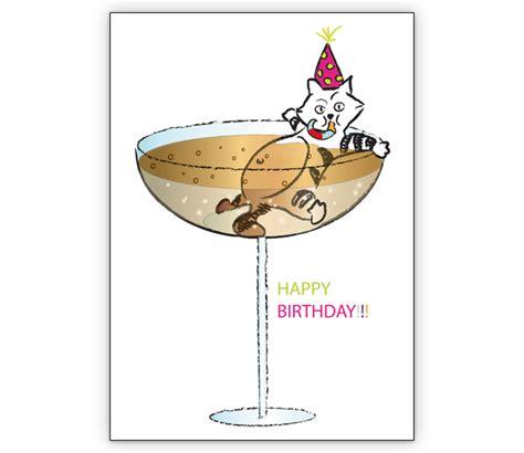 lustige geburtstagskarte mit  champagner badender katze