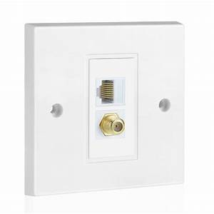 Coaxial Connector Ethernet Network Faceplate Coax Rj45
