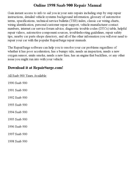 download car manuals 1999 saab 900 auto manual 1998 saab 900 repair manual online by vaugnmeyers issuu