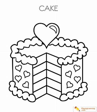 Coloring Cake Birthday Pages Printable Playing Sheet