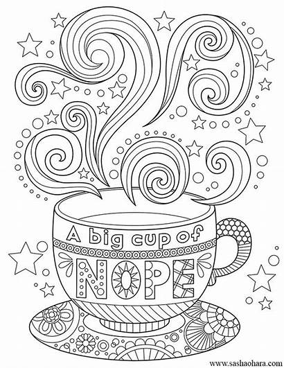 Coffee Cup Coloring Tea Nope Mandala Adult