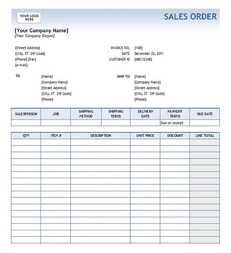 order form template 19 free documents in pdf