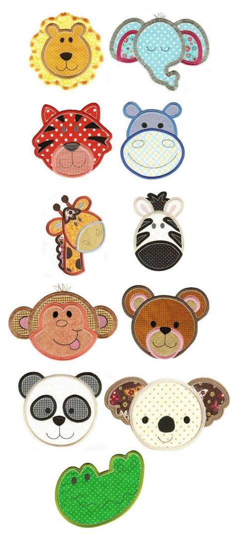 machine embroidery designs applique animals animal faces and appliques on