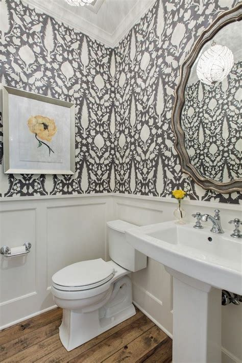 floral wallpaper powder room traditional  wainscoting