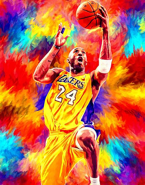 Kobe Bryant Basketball Art Portrait Painting Painting by ...