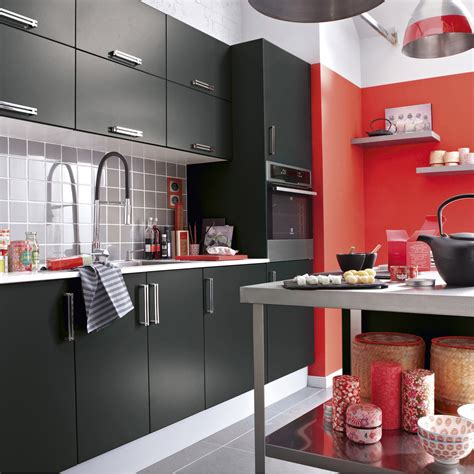 image meuble de cuisine meuble de cuisine noir delinia délice leroy merlin