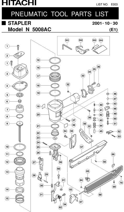 Hitachi N5008AC Parts - Pneumatic Stapler