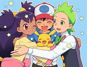 Pics For > Pokemon Black And White Ash And Iris Kiss