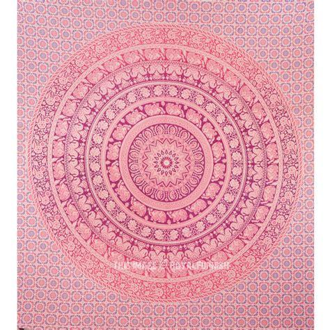 pink dye multi royal elephant medallion circle mandala tapestry wall hanging royalfurnish com