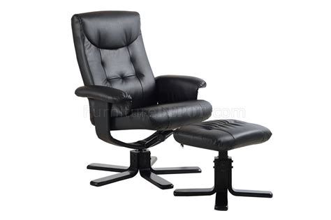 black vinyl modern stress free recliner chair w ottoman