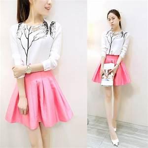 2017 Autumn Women Clothing Set Korean Fashion Swan Tree Printed White Shirt Pleated Pink Skirt 2 ...
