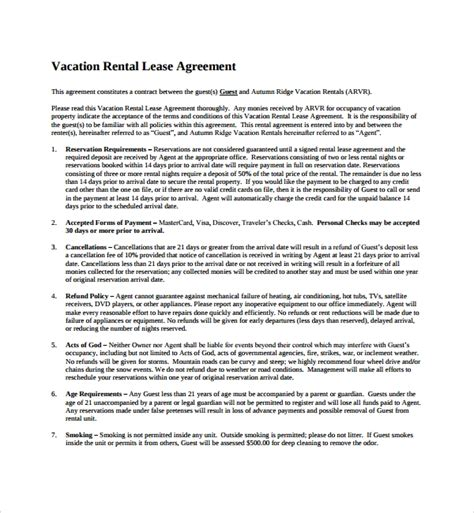 vacation rental agreement templates sample templates