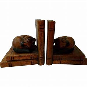 Carved Wood Cat Bookends Vintage Home Decor from ...