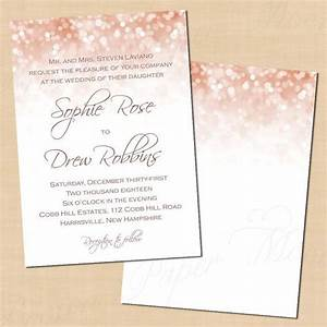 Rose gold sparkles wedding invitation template 5 par for Free wedding invitation templates rose gold