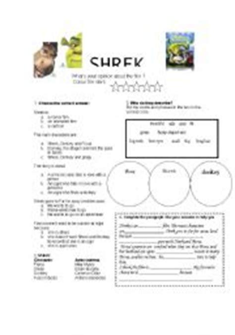 worksheets shrek 2