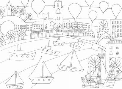 Bristol Colouring Colour Scenery Sheets Iconic Attractions