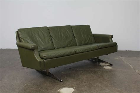 mid century modern leather sofa with metal legs for sale