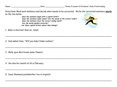 4th grade proofreading worksheets worksheets for all