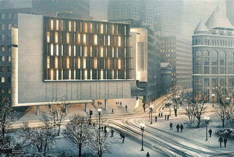 Modern Style Architectural Renders by Modern Building Architectural Rendering On Winter Arch
