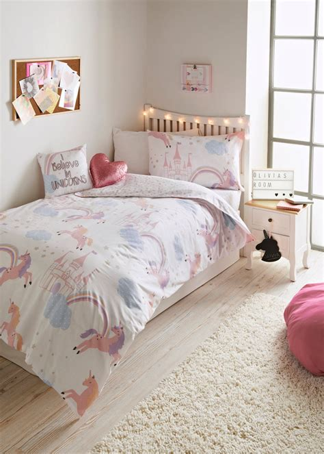 Kids Unicorn Print Singledouble Duvet Cover  Pink Matalan