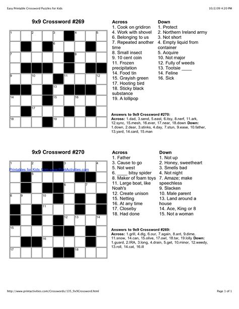 easy crossword puzzles printable easy crossword puzzles i m going to be an slp pinterest
