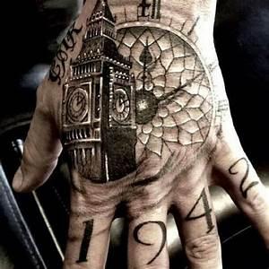 Hand tattoo clock face and big ben | Tattoos | Pinterest ...