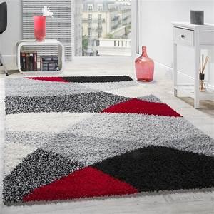 Teppich Rot Schwarz : shaggy teppich hochflor langflor weich geometrisch ~ Pilothousefishingboats.com Haus und Dekorationen