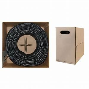 Cat5e Ethernet Cable  Stranded Copper  Black  Pullbox 1000ft